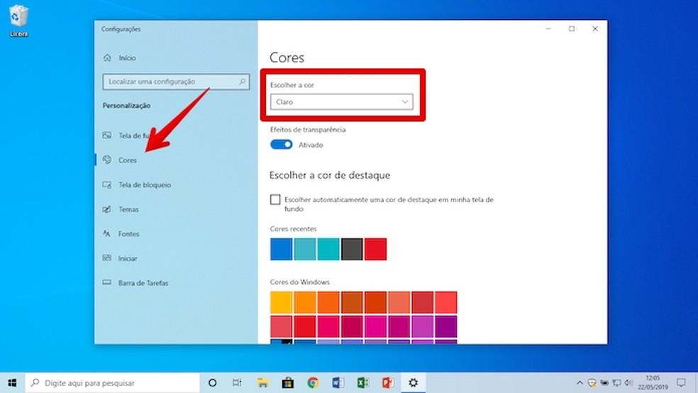 Setting clear theme in Windows 10 Photo: Playback / Helito Beggiora