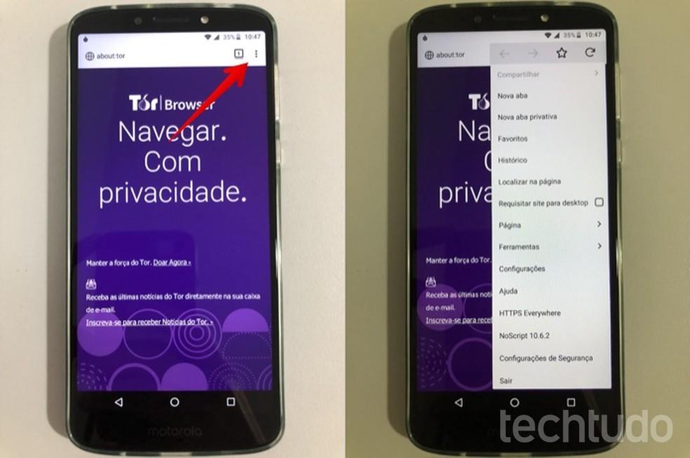 Tor Browser Options Menu Photo: Helito Beggiora / dnetc