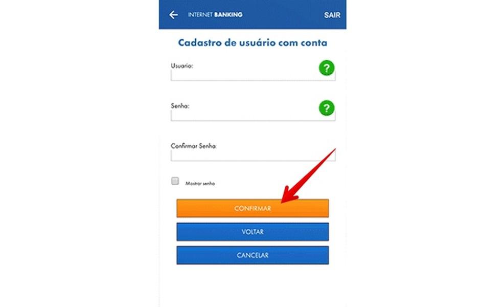 Creating username and password Photo: Reproduction / Helito Beggiora