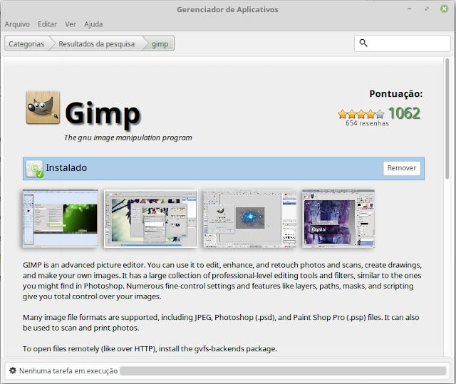 GIMP on the Linux Mint Apps Center