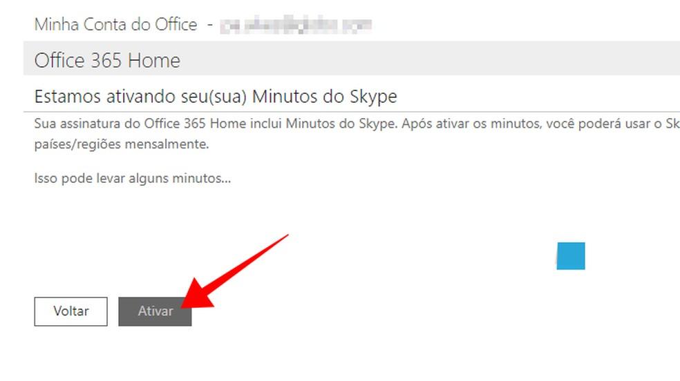 Activate Skype's 60 minutes per month Photo: Reproduo / Paulo Alves