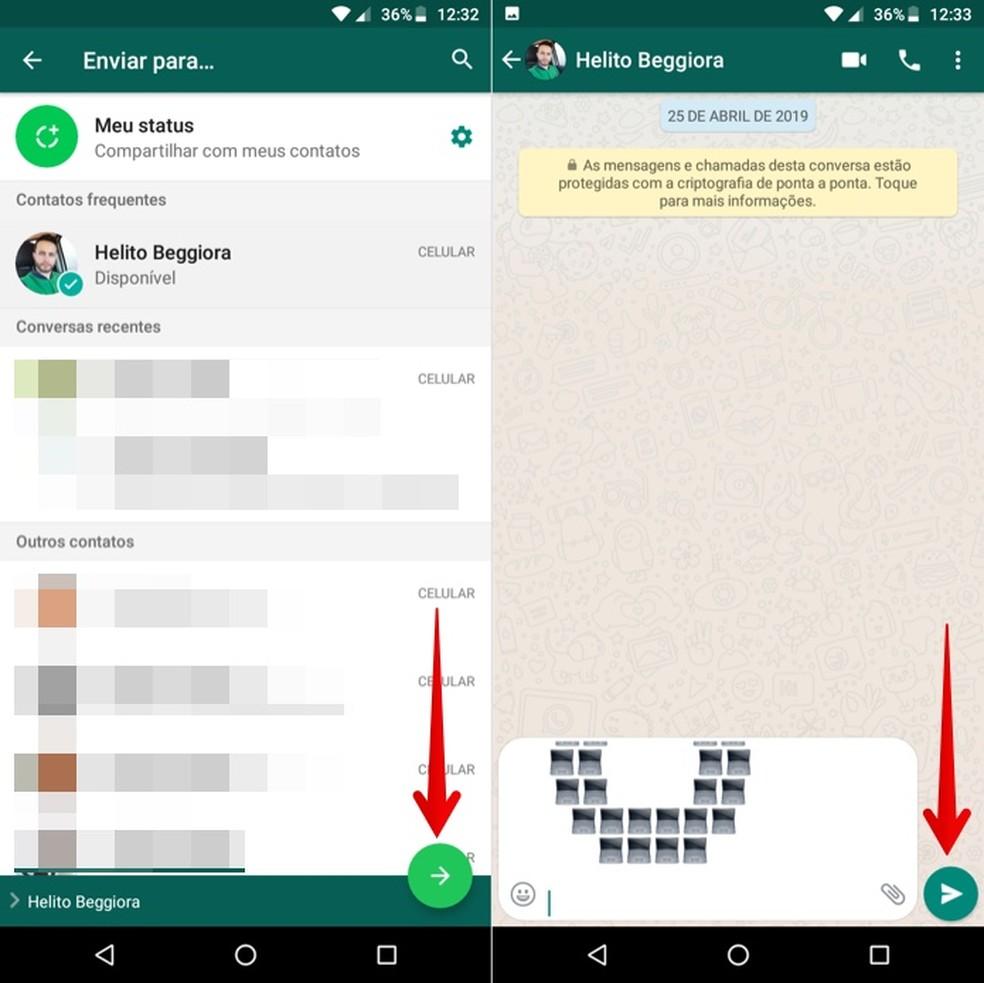 Sharing text on WhatsApp Photo: Reproduction / Helito Beggiora