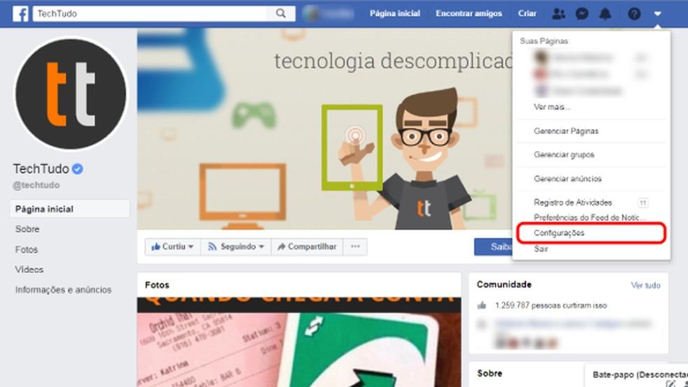 Access the Facebook menu Photo: Reproduo / Carolina Lais