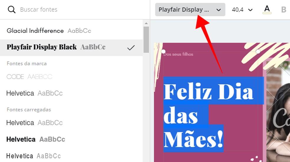 Modify the typography of the text Photo: Reproduo / Paulo Alves