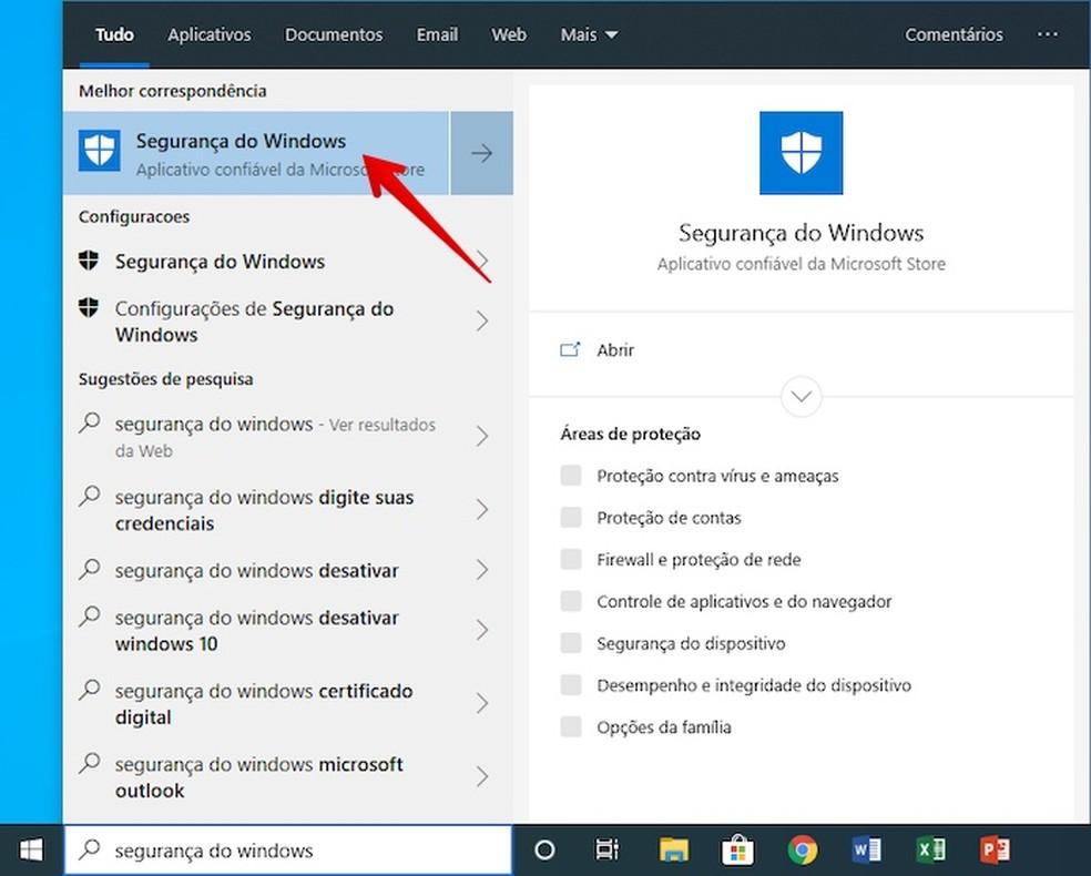 Search for Windows Defender Photo: Reproduction / Helito Beggiora
