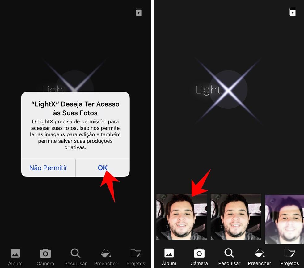 Grant permission for the LightX app to access your photos Photo: Reproduction / Rodrigo Fernandes