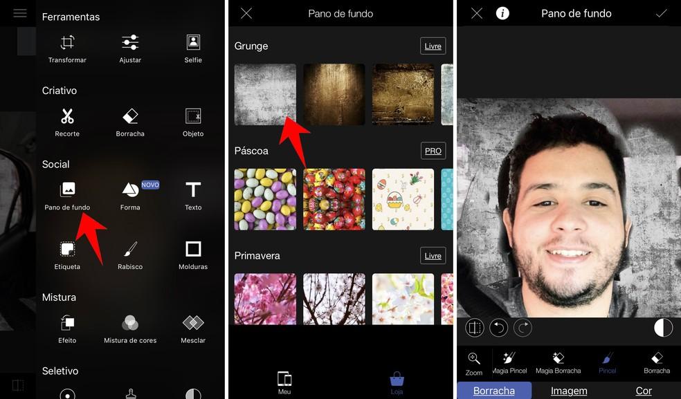 Change the background color of a photo through the LightX app Photo: Reproduo / Rodrigo Fernandes