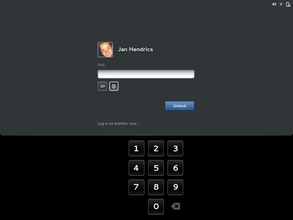 Gnome OS unlock screen