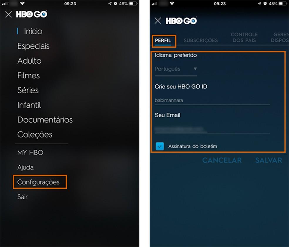 Access the HBO GO app settings Photo: Playback / Barbara Mannara