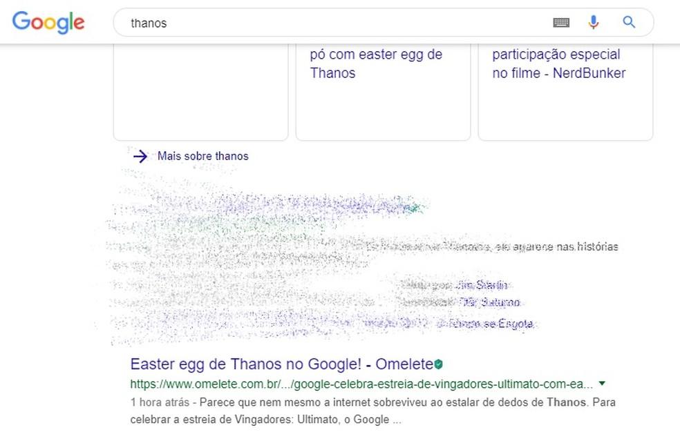 Thanos's Ao on Google disintegrates half of search results Photo: Playback / Google
