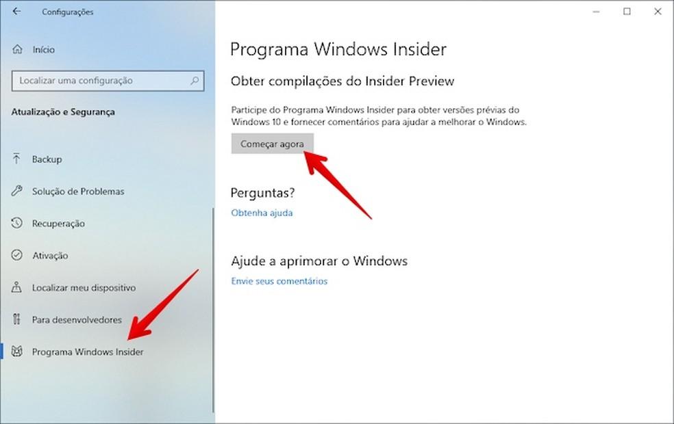 Access Windows Insider Settings Photo: Play / Helito Beggiora