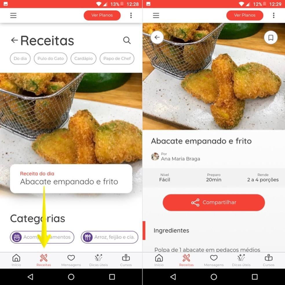 Viewing recipes on Ana's App Photo: Reproduo / Helito Beggiora