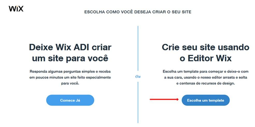 Choose Editor Wix Foto: Reproduo / Mariana Coutinho