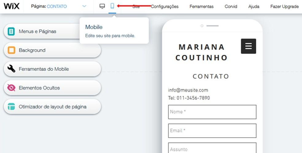 See the mobile version of your portfolio Photo: Reproduo / Mariana Coutinho