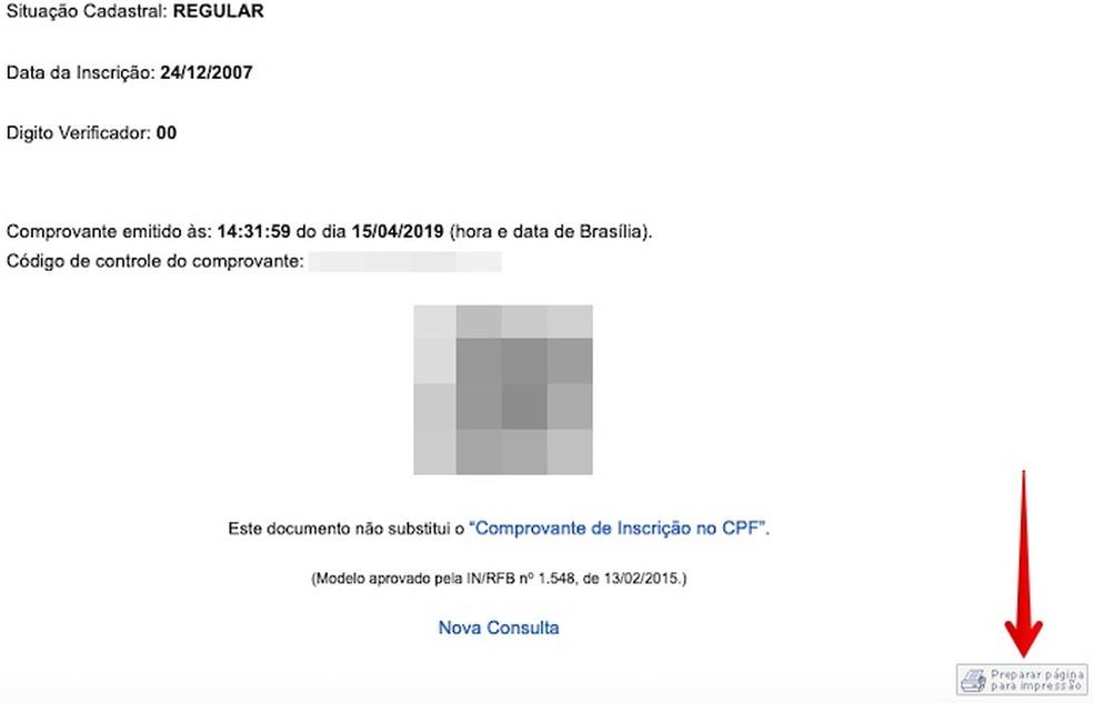 Printing CPF Status Report Photo: Reproduction / Helito Beggiora