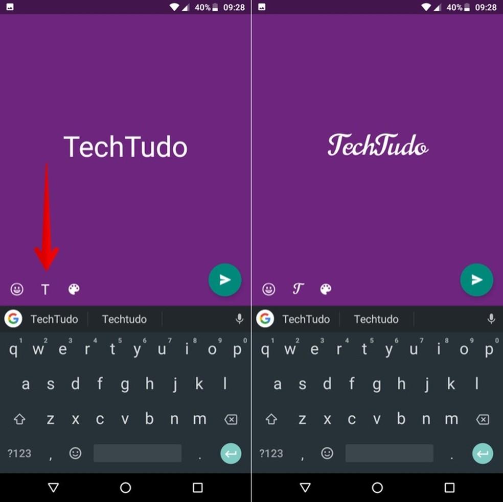Change font in WhatsApp Status Photo: Reproduction / Helito Beggiora