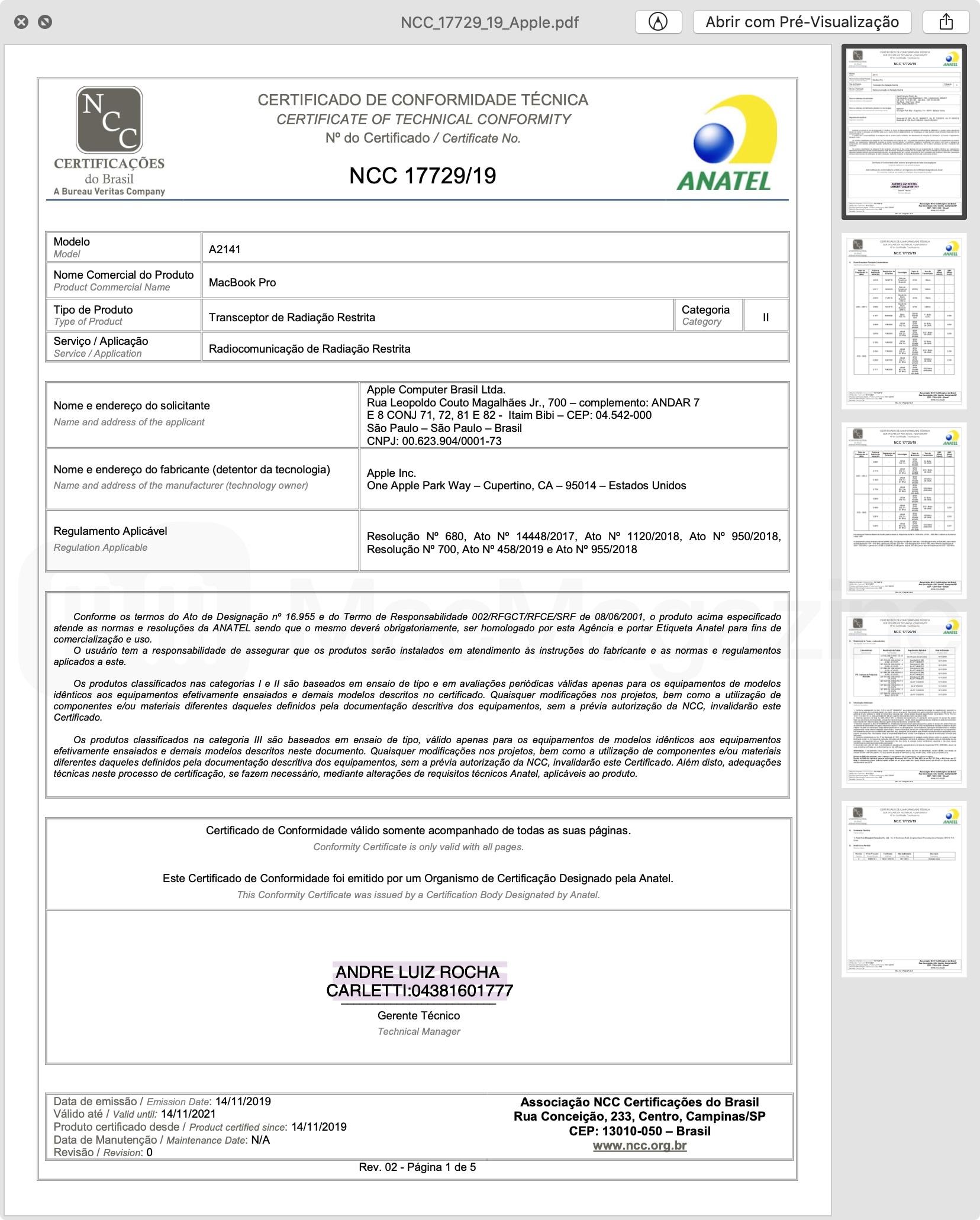 MacBook Pro 16 Approval Certificate