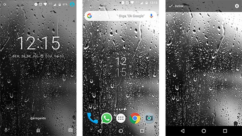 Raindrops Live Wallpaper HD 8 app shows a looping animation with raindrops Photo: Reproduction / Gabriel Santos