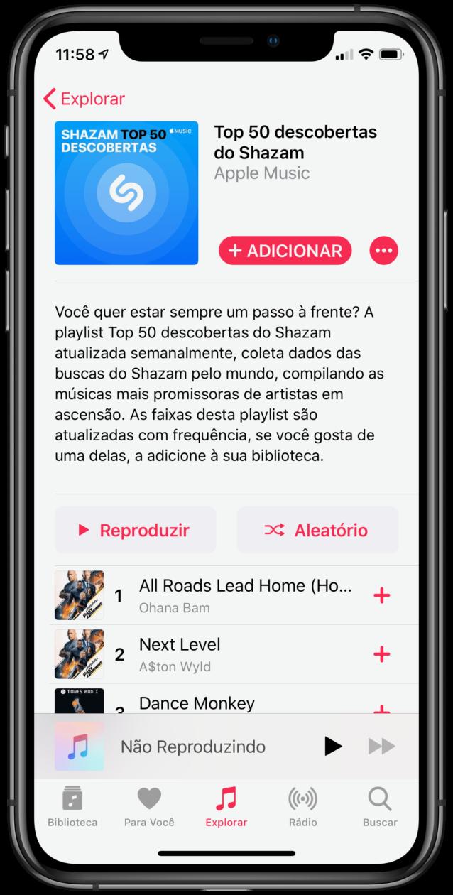 Shazam's new playlist on Apple Music