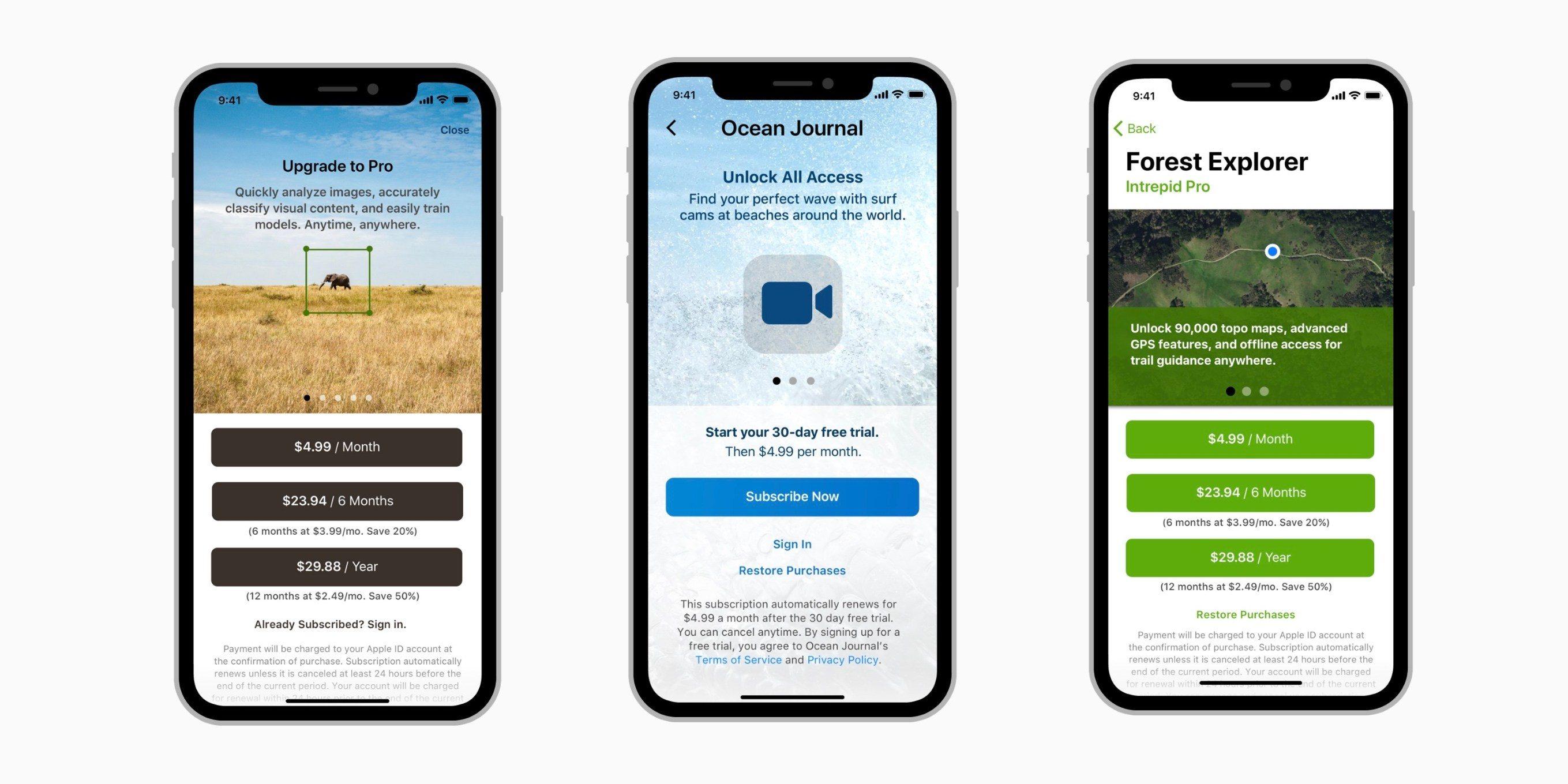 New Apple App Subscription Screenshots
