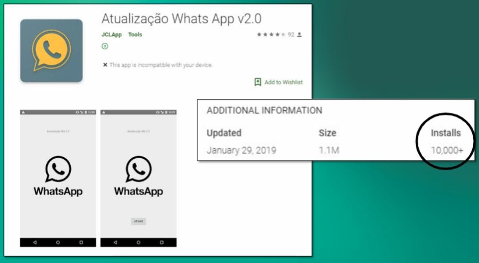 Fake App WhatsApp Update on Play Store Photo: Divulgao / Kaspersky