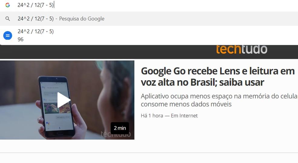 Chrome search bar works as a calculator Photo: Reproduo / Ana Letcia Loubak