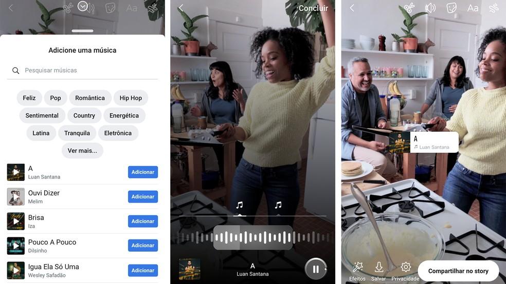 Facebook and Instagram gain music function in Stories Photo: Divulgao / Facebook
