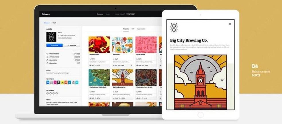 Behance Adobe platform focused on creating online portfolios Photo: Divulgao / Adobe