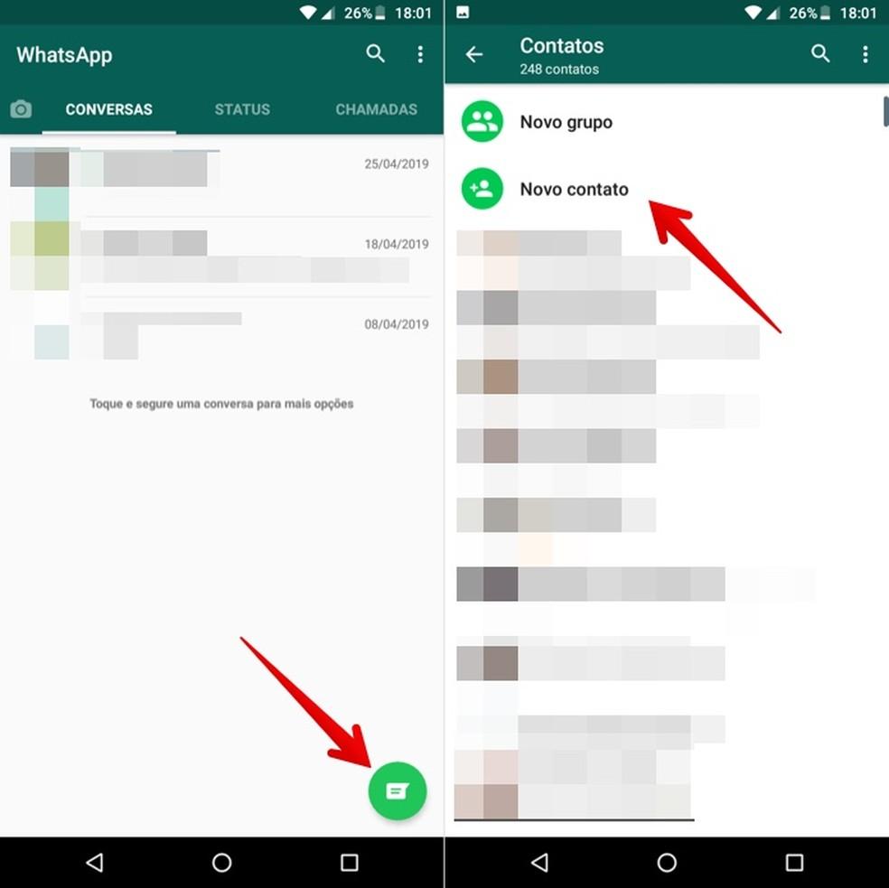 Add a new contact for WhatsApp Photo: Reproduction / Helito Beggiora