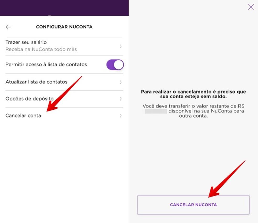 Confirm NuConta cancellation in the Nubank app Photo: Reproduo / Helito Beggiora
