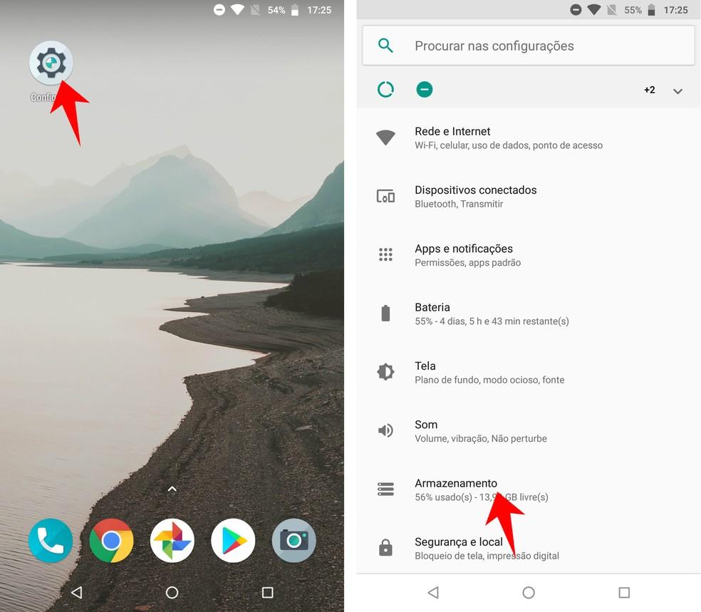 Accessing Android Storage Settings Photo: Playback / Rodrigo Fernandes