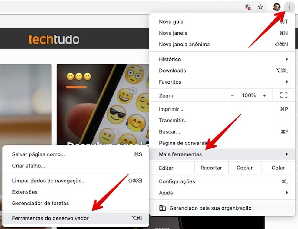 Open Developer Tools Photo: Reproduction / Helito Beggiora