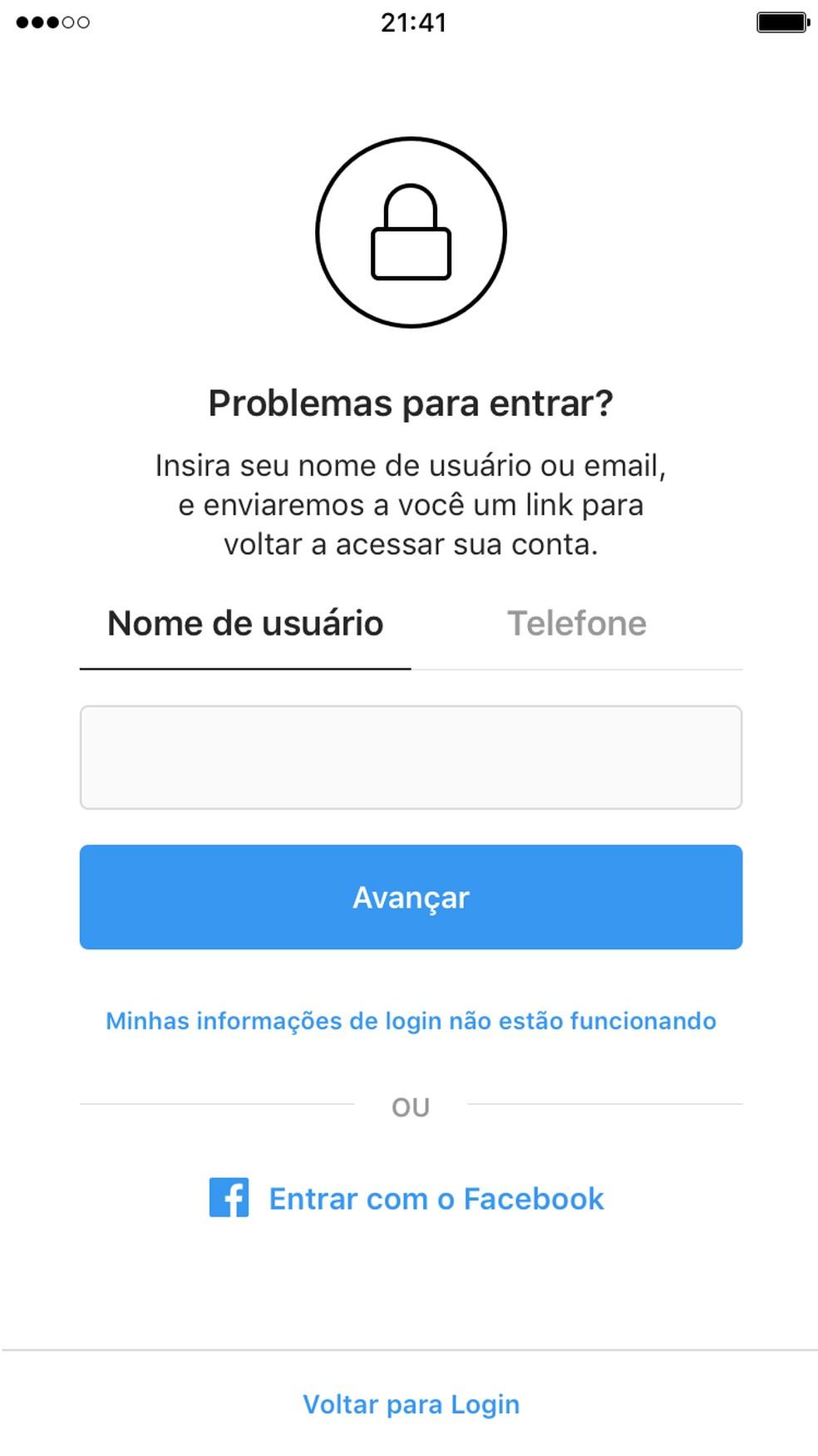 Account Recovery: Enter Your Username Photo: Divulgao / Instagram
