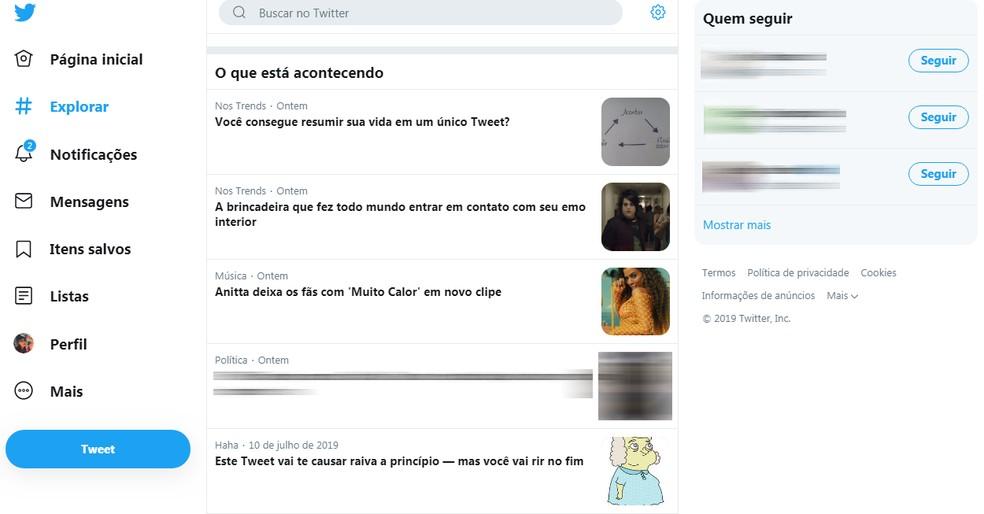 Explore shows hot topics on Twitter Photo: Reproduo / TechTudo