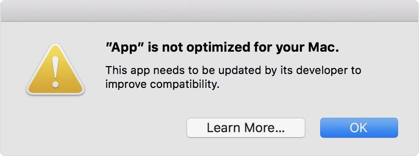 32-bit app alert on macOS High Sierra