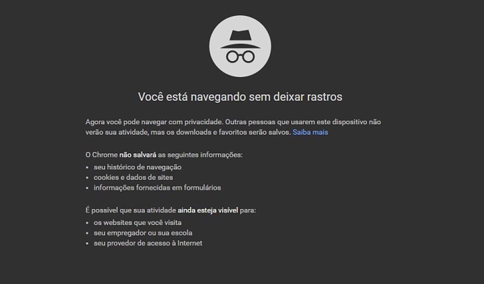 Annimo Mode - Google Chrome Photo: Playback / Fernando Telles