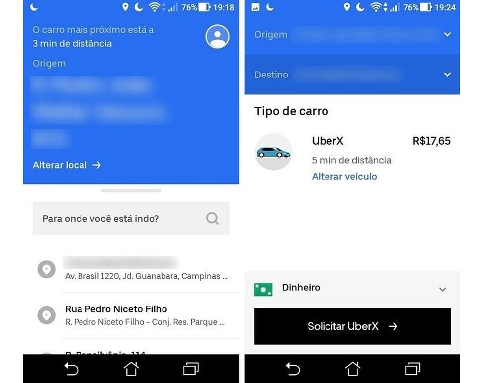 Uber Lite has a simpler interface than the original app Photo: Reproduction / Maria Dias