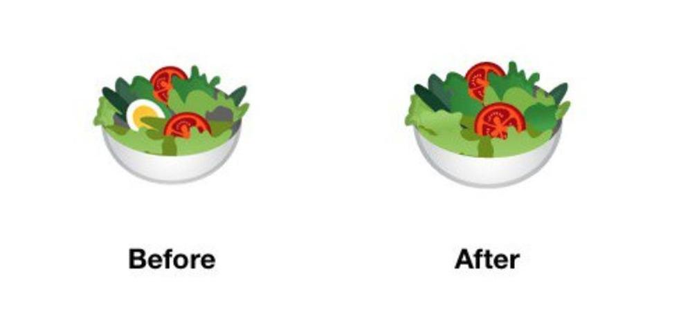 Salad Emoji has lost the animal item, the egg Photo: Divulgao / Google