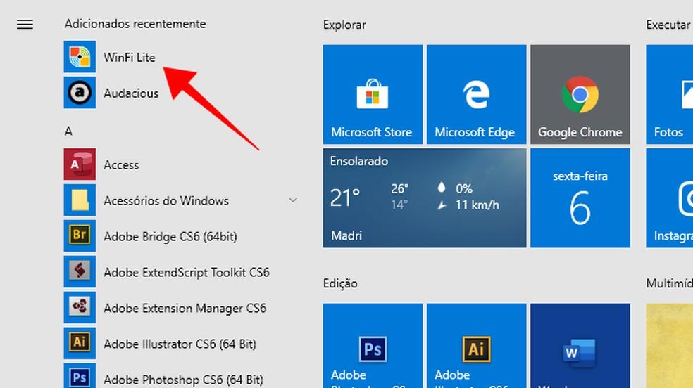 Download the WinFi Lite app for Windows 10 Foto: Reproduo / Paulo Alves