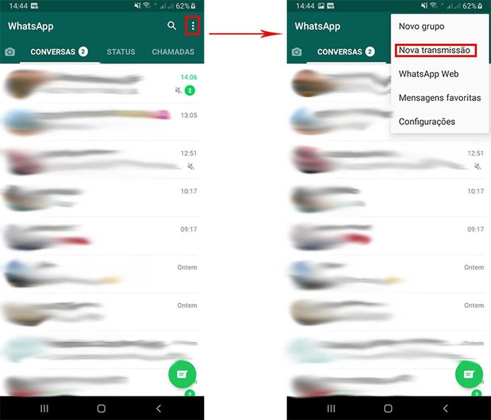 Learn how to create a Transmission List with WhatsApp Photo: Playback / Fernanda Lutfi