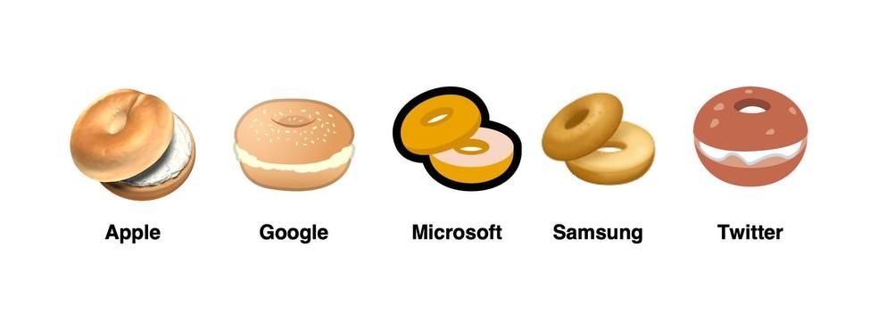 Bagel emoji on different platforms Photo: Reproduction / Emojipedia