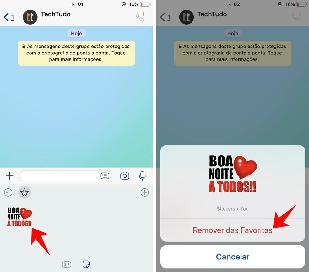 Remove a sticker from WhatsApp's favorite collection Photo: Reproduo / Rodrigo Fernandes