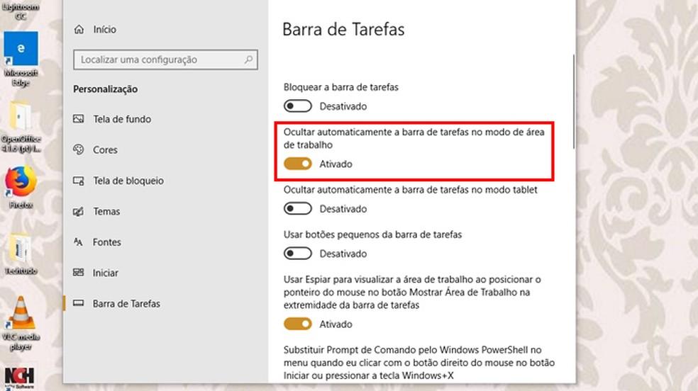 How to disable the taskbar on your desktop Photo: Reproduo / Giulia Arajo