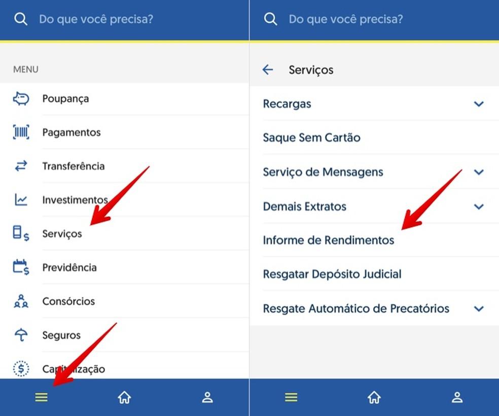 Access the Banco do Brasil app menu on iPhone Photo: Reproduo / Helito Beggiora