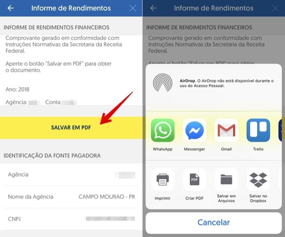 Export PDF file from the Banco do Brasil app Photo: Reproduo / Helito Beggiora