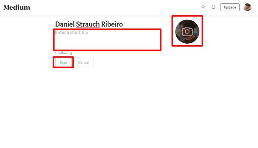 Write a short presentation, choose a profile photo, and click Save Photo: Playback / Daniel Ribeiro