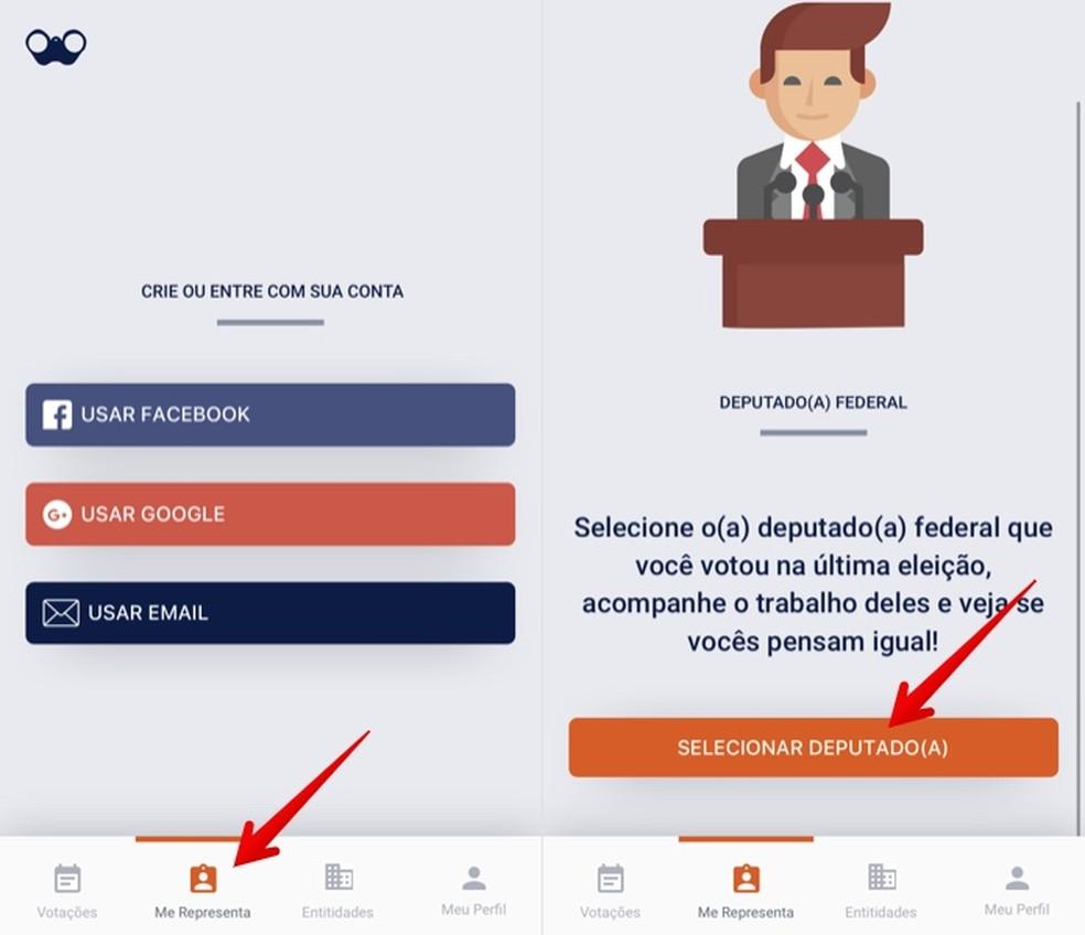Create a profile and select your politicians Photo: Reproduction / Helito Beggiora