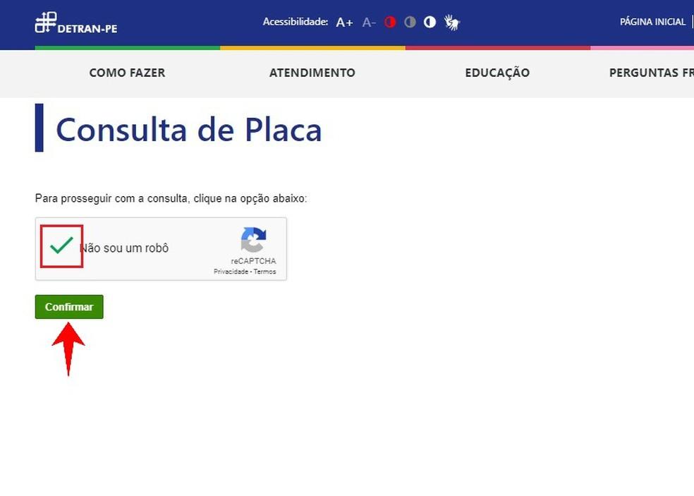 Detran-PE website requires confirmation to access vehicle data Photo: Reproduction / Rodrigo Fernandes