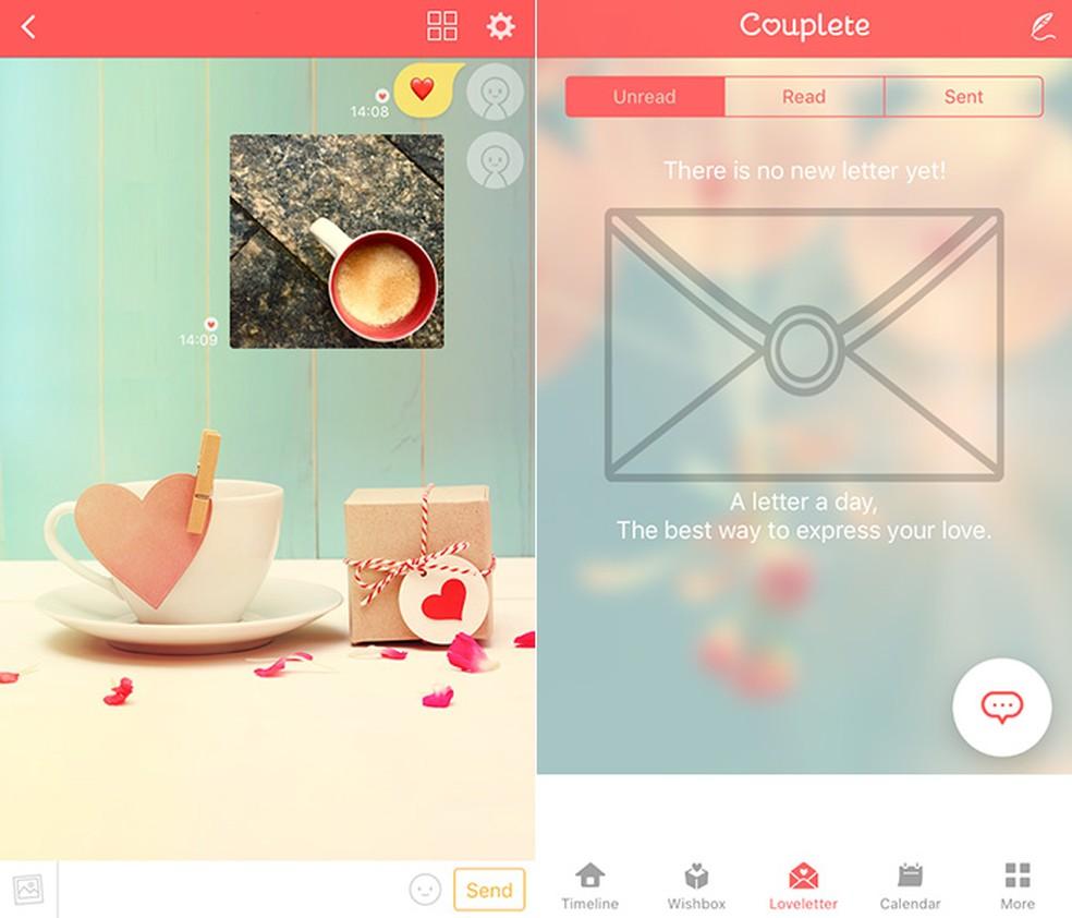 Couplete has a dedicated section of love letters exchange Photo: Reproduction / Amanda de Almeida