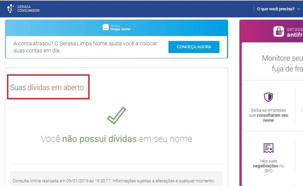 Serasa Consumer's website shows active doubts, if user is irregular Photo: Reproduo / Rodrigo Fernandes